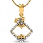 Floral Square Diamond Pendant