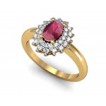 Oval Gemstone Diamond Ring