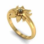 Lotus Floral Engagement Ring